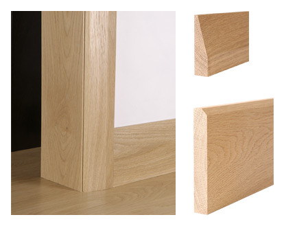 Solid oak chamfer architrave and bevelled skirting board