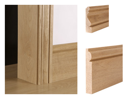 Solid oak period ogee bead architrave and torus skirting board