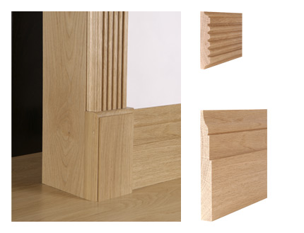 Solid oak reeded architrave and St James skirting board