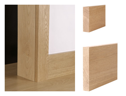 Solid oak square edge architrave and skirting board