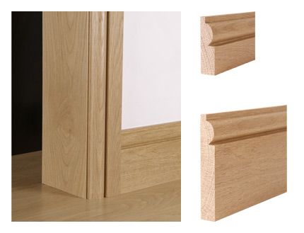 Solid oak torus architrave and skirting board