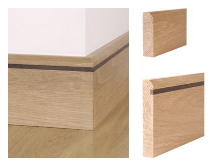 Solid oak 45° bevelled skirting board with wenge inlay and 45° bevelled architrave
