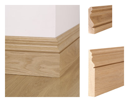 Solid oak ogee bead skirting board and architrave