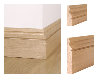 Solid oak ogee skirting board and architrave