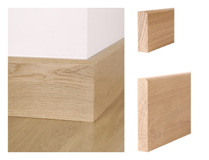 Solid oak pencil round skirting board and architrave