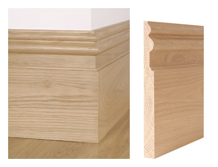 Solid oak St James skirting board